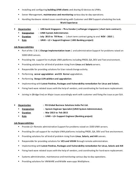 Unix Sysadmin Resume by Unix Administration Resume Statisticalhelp Web Fc2