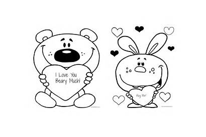 Coloring Printable Much Beary Valentine Valentines Blank
