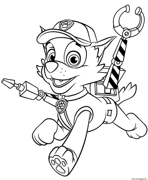 Rocky With Claws Paw Patrol Coloring Pages Printable