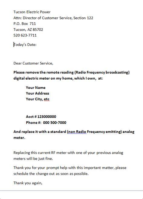 smart meter opt   meter change  request letter