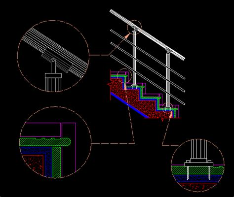 stairs detail risers and handrails dwg section for autocad designs cad