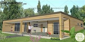 Prix Toiture 80m2 : maison bois moderne 3 chambres toit plat ~ Melissatoandfro.com Idées de Décoration