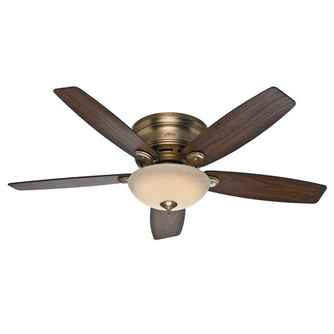 lowes ceiling fans with led lights shop hunter low profile iv 52 in brushed bronze flush