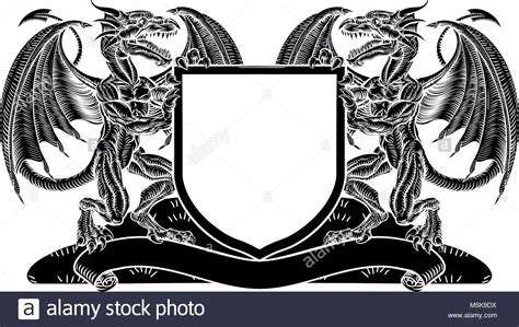 Heraldic Dragons Stock Photos & Heraldic Dragons Stock