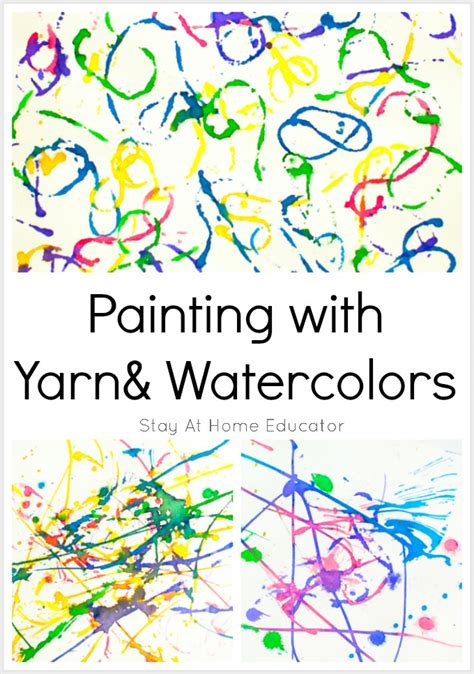 painting with yarn process activity for toddlers 854 | Paitning with yarn and watercolors process art activity for preschoolers