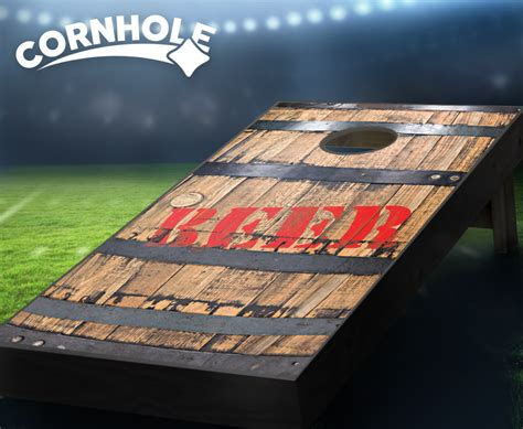 beer barrel cornhole boards party themed cornhole boards