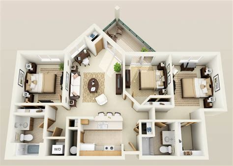 Three Bedroom Apartments Designs For Your Perfect Living