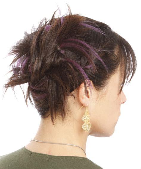 long straight brunette updo  layered bangs