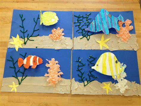 Elementary Art Underwater Collage- Pop Up Fish(art Teacher