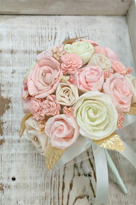 Pastel Bridal Bouquet Pink Mint Gold Wedding