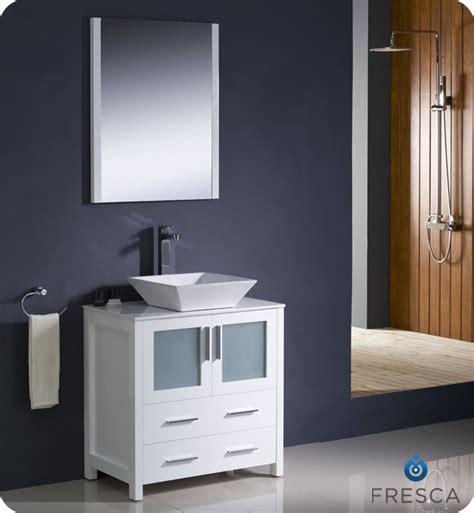 torino white modern bathroom vanity  vessel sink