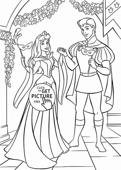 Coloring Sleeping Beauty Pages Printable Ball Aurora