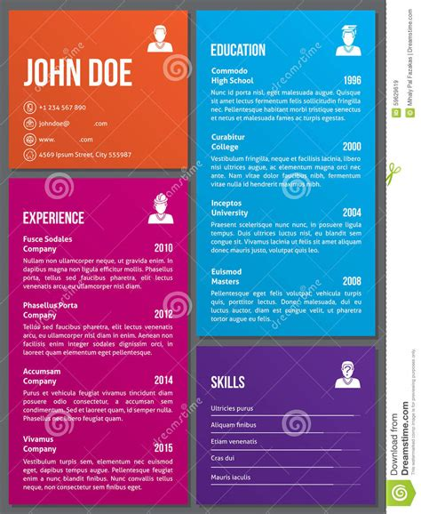 curriculum vitae layout template metro design cv resume template stock vector