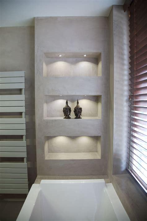 betonoptik und gemauertes regal haus