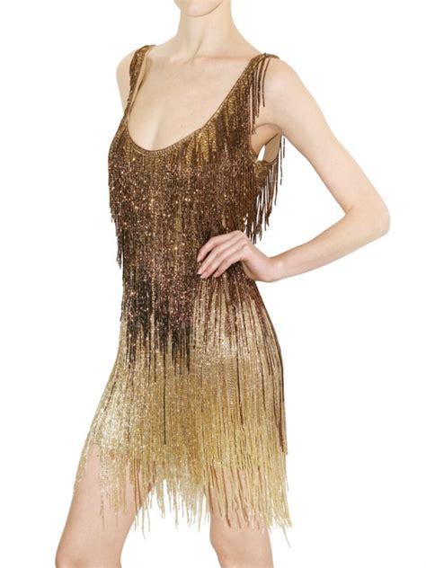 lyst roberto cavalli embellished fringed dress  metallic