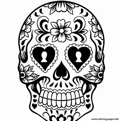 Coloring Skull Sugar Pages Printable Info