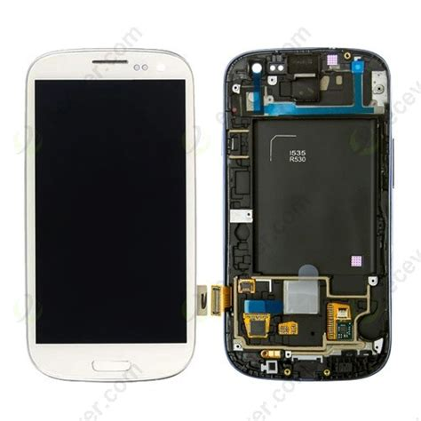 for samsung galaxy s3 sch i535 r530 lcd display touch panel with frame replacement white