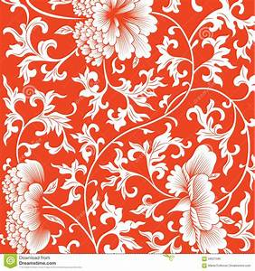 Pattern On Red Background With Chinese Flowers. Stock ...