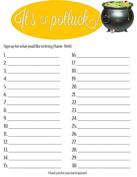 free potluck template potluck sign up sheet collection kiddo shelter