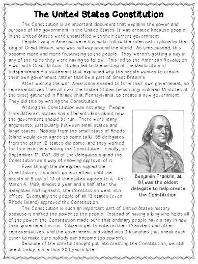 constitution day activity reading comprehension  task