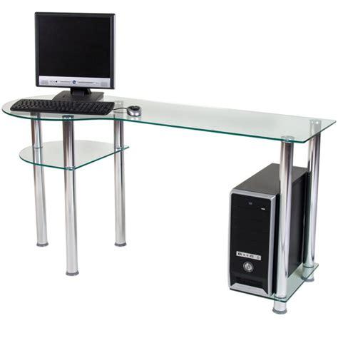 bureau ordinateur bureau pour ordinateur en verre clair 145x60x72cm