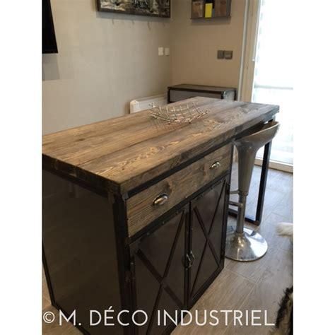table ilot centrale cuisine meuble industriel îlot centrale de cuisine m déco