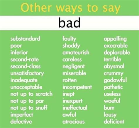 Other Ways To Say Bad
