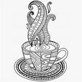 Coloring Coffee Cup Mug Tea Printable Cups Adult Adults Getcolorings Zentangle sketch template
