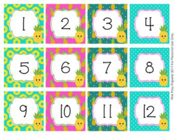 pineapple calendar numbers  pink posy paperie tpt