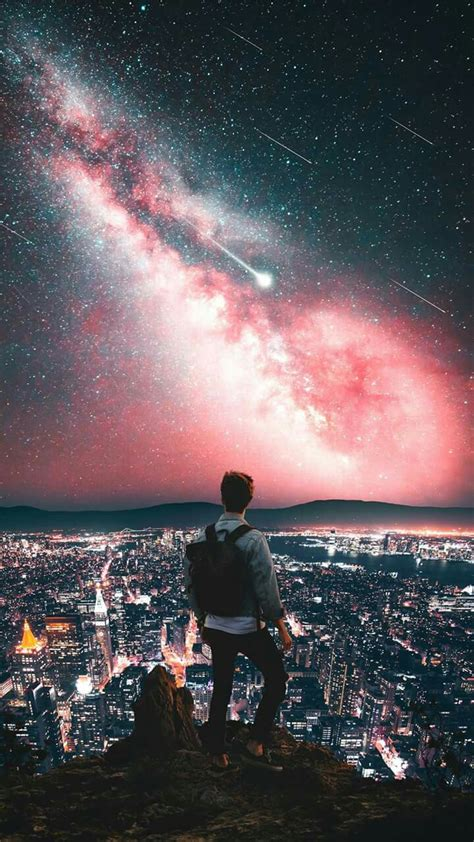 man  mountain city night galaxy view stars iphone