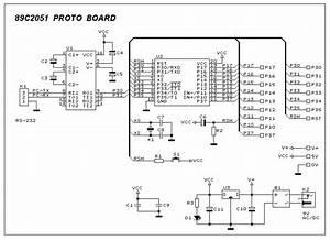 Atmel 89c2051 Prototype Board Circuit Diagram
