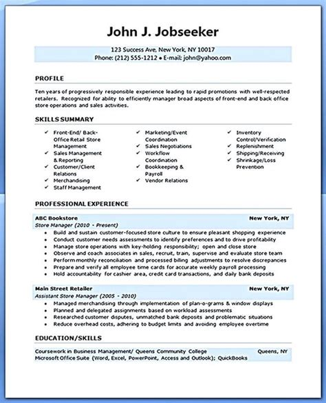 best resume sles for experienced professionals clip 54