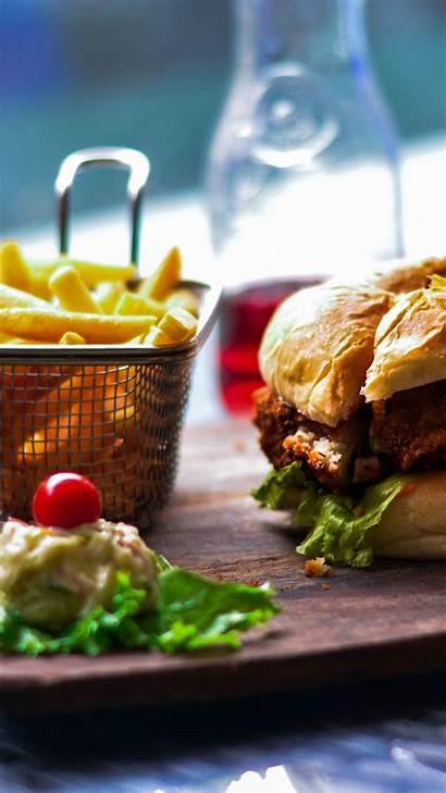 Burger Fries French Hamburger Bun Vegetables Iphone