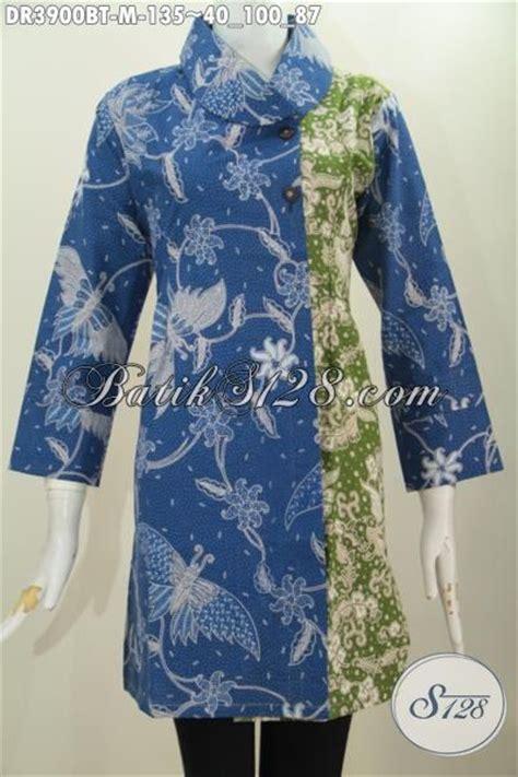 dress batik cantik model terbaru kerah miring kombinasi
