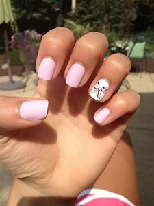 Light PINK nails with a cute BOW | Nail Polish | Pinterest