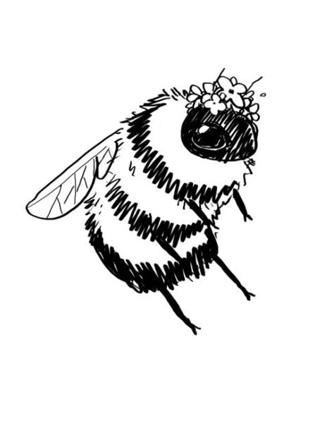 bees  tiny flower crowns art illustration art