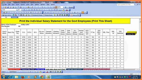 salary structure format  excel   salary