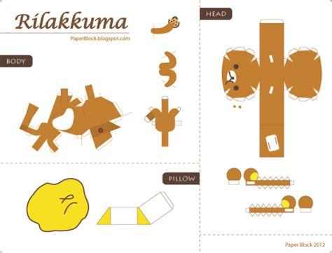 food papercraft template rilakkuma papercraft h a n a m i
