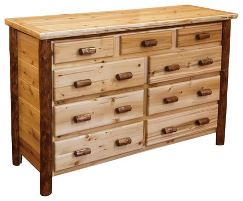 white rustic dresser rustic white cedar log two tone 9 drawer dresser rustic