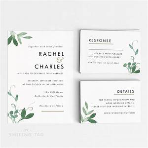 printable wedding invitation set modern botanical With size of response cards for wedding invitations