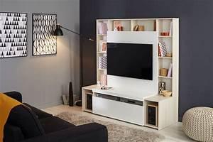 Meuble Tv Accroché Au Mur : meubleparoi tv orlando de conforama coloris blancmlze possibilit de with fixer un meuble suspendu ~ Melissatoandfro.com Idées de Décoration
