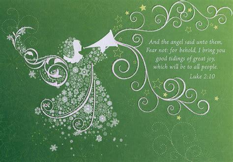 white angel  trumpet religious christmas card