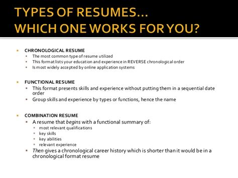 Sequential Formatting Resumes by Resume Writing Presentation