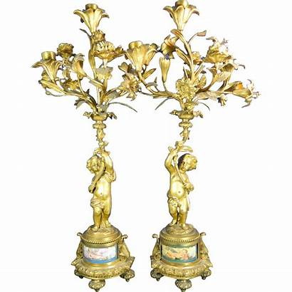 Gold Bronze Candle Holders Pair Cherubs Sevres