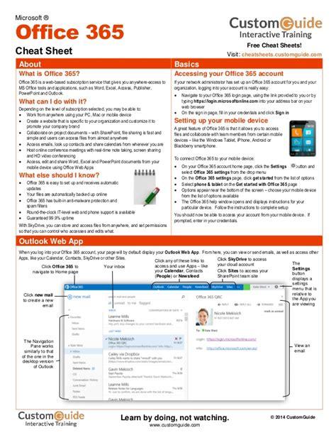 Office Cheats by Office 365 Sheet