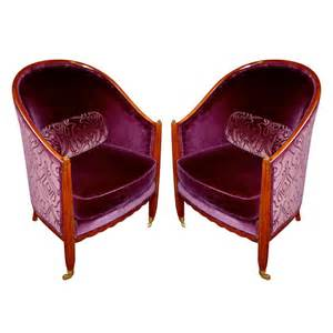 pair of 1930 s purple velvet club chairs for sale