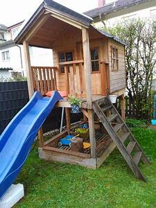 kletterhaus kindergartenhaus holz mit rutsche in With französischer balkon mit kindergarten spielhaus garten