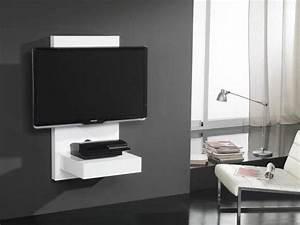 Meuble Tv Accroché Au Mur : meuble tv mural pour cran plasma lcd gisan sm110bl privadis ~ Preciouscoupons.com Idées de Décoration