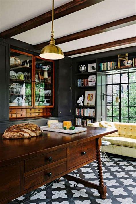 elegant black  white floor tile   kitchen