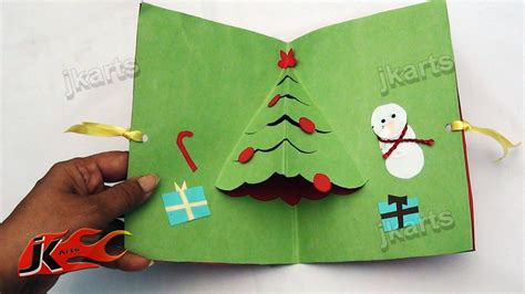 diy christmas pop up card how to make school project for kids jk arts 106 youtube